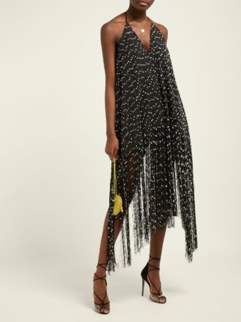 JACQUEMUS Riviera Fringed Polka-dot Mini Black Dress
