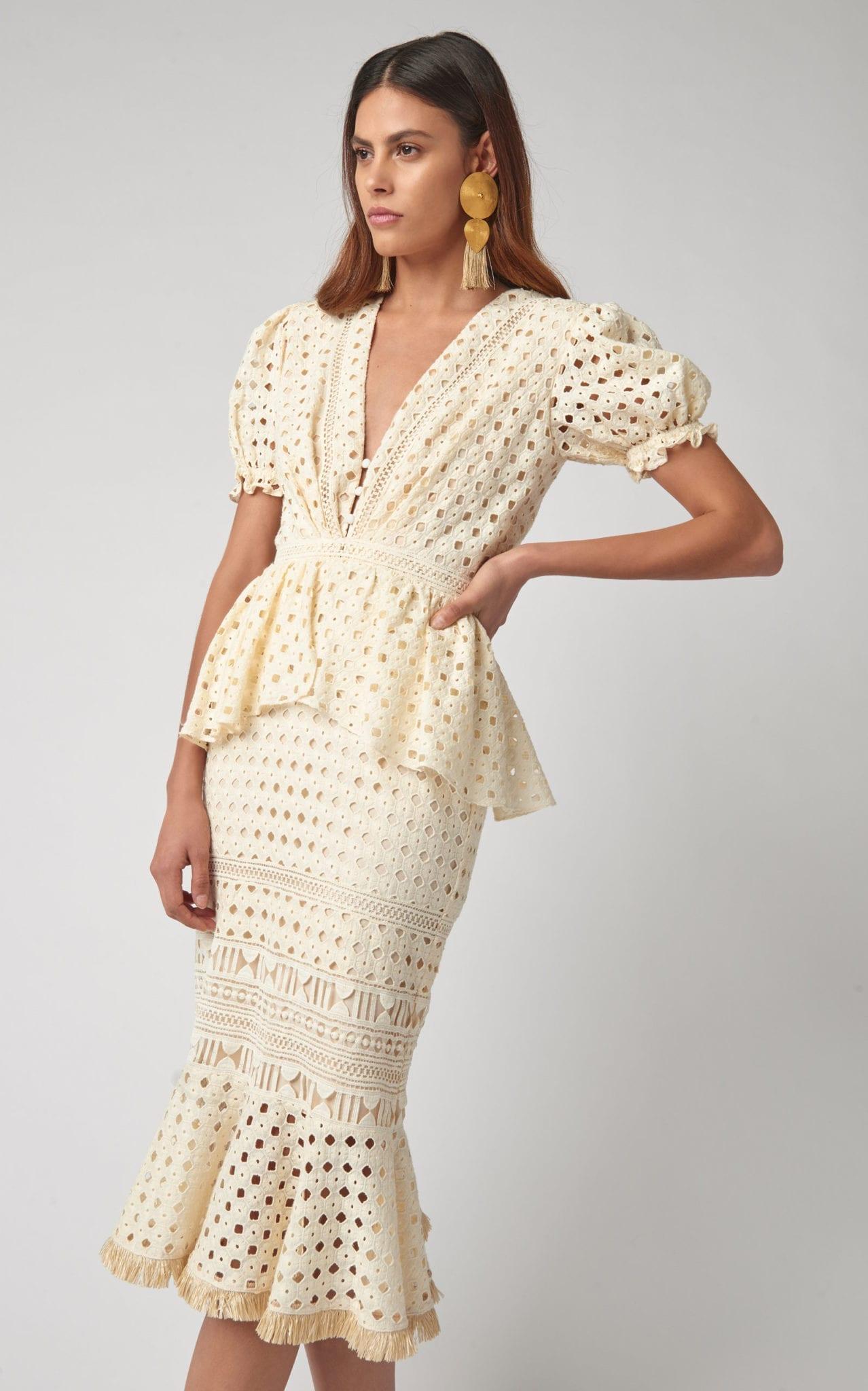 JOHANNA ORTIZ Lovers Bridgelush Broderie Anglaise Cotton Peplum White Dress