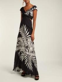 JOHANNA ORTIZ Palma Negra Leaf-Print Silk-Georgette Black Dress