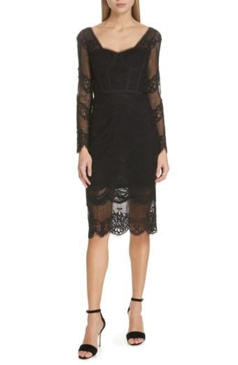 JONATHAN SIMKHAI Lace Bustier Bodysuit Black Dress