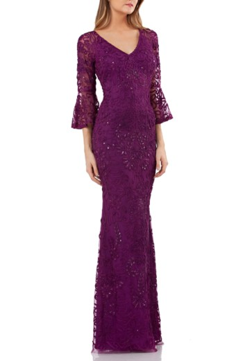 JS COLLECTIONS Soutache Embroidered Trumpet Dark Violet Gown