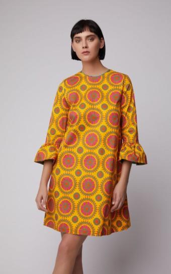 LA DOUBLEJ Printed Cotton-Blend Shift Orange Dress
