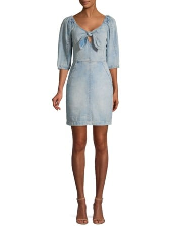 LA VIE REBECCA TAYLOR Elbow-Length Denim Sheath Light Blue Dress