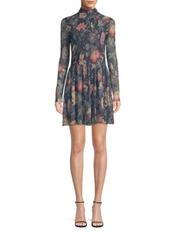 LA VIE REBECCA TAYLOR Faded Floral Fit-&-Flare Deep Green Dress