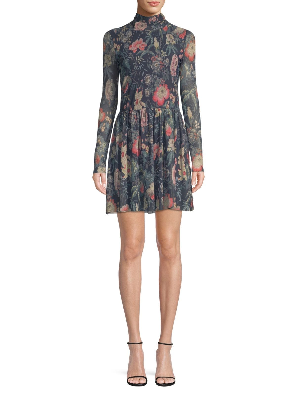 LA VIE REBECCA TAYLOR Faded Floral Fit-&-Flare Deep Green Dress
