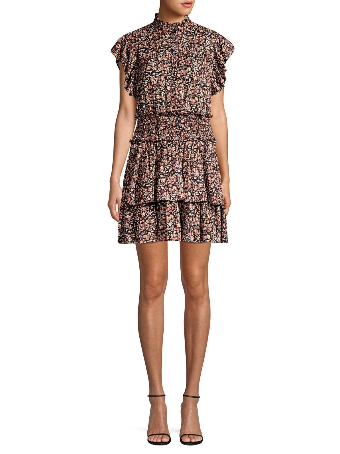 LA VIE REBECCA TAYLOR Gitane Floral Ruffle High-Neck Black Dress