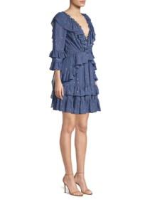 LA VIE REBECCA TAYLOR Glitter Polka Dot Ruffle Blue Dress