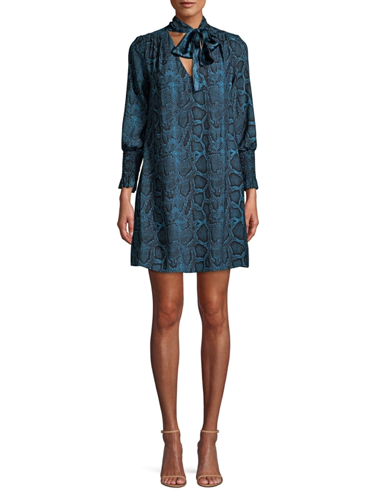 LA VIE REBECCA TAYLOR Snake Print Bow Collar Storm Dress