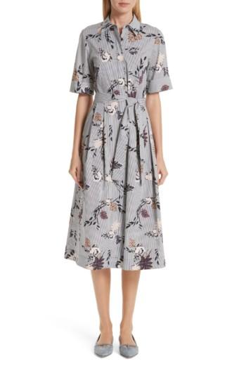LAFAYETTE 148 NEW YORK Eleni Stripe Shirt Grey / Floral Printed Dress