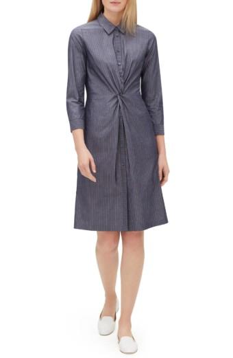 LAFAYETTE 148 NEW YORK Federica Avalon Stripe Blue Dress