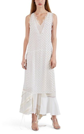 LOEWE Layered Mixed-Media Sheath White Dress