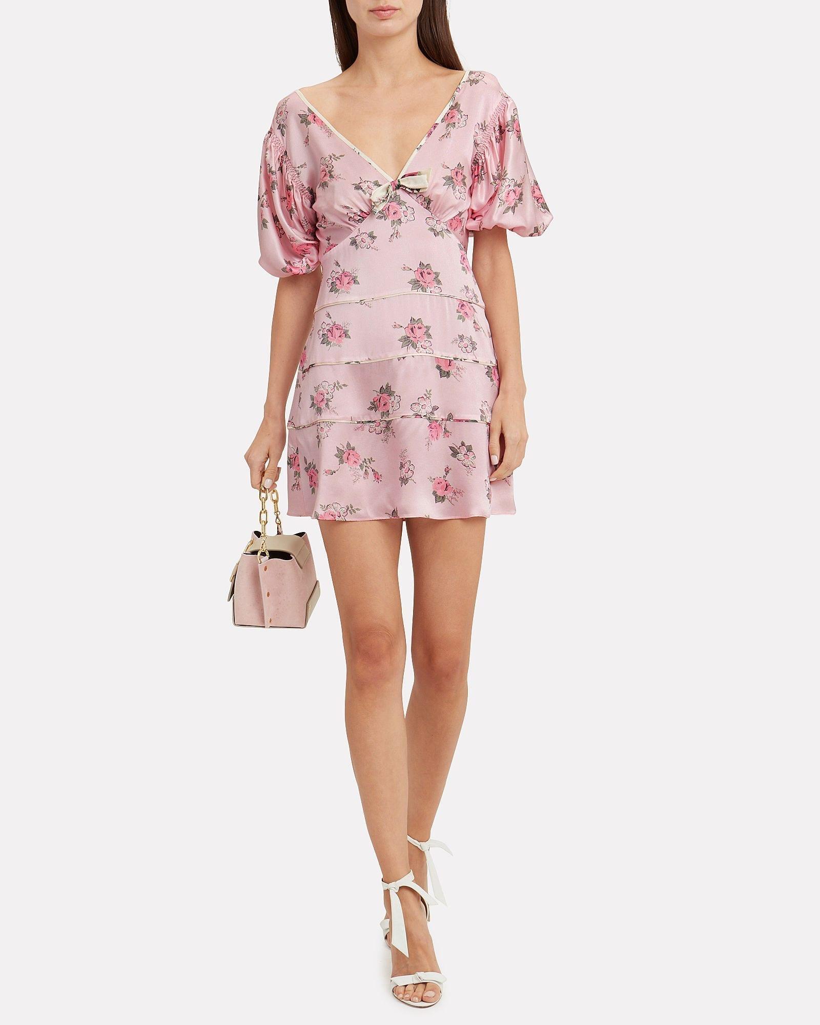 LOVESHACKFANCY Lennox Mini Pink / Floral Printed Dress