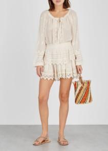 LOVESHACKFANCY Popover Eyelet-embroidered Voile Beige Dress