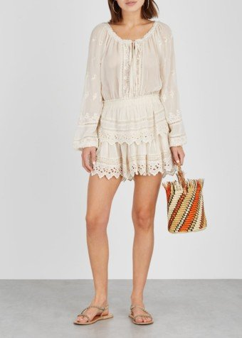 LOVESHACKFANCY Popover Eyelet-embroidered Voile Beige Dress