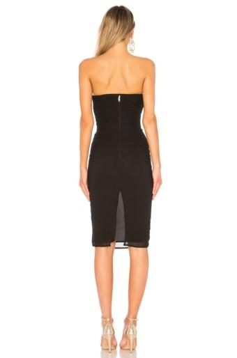 LPA Shirred Bustier Black Dress