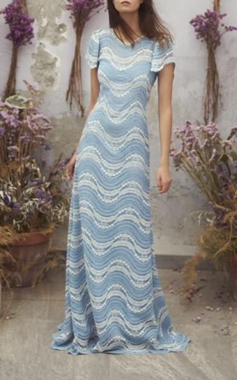 LUISA BECCARIA Lace Maxi Blue Dress