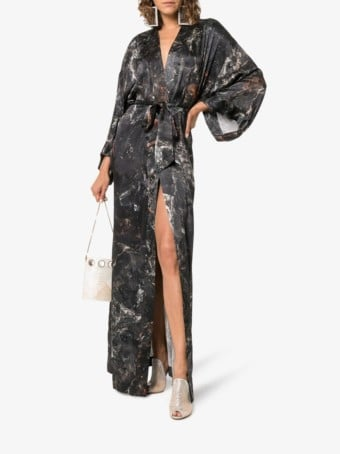 MÄRTA LARSSON Obsidian Print Long Silk Kimono Black Dress