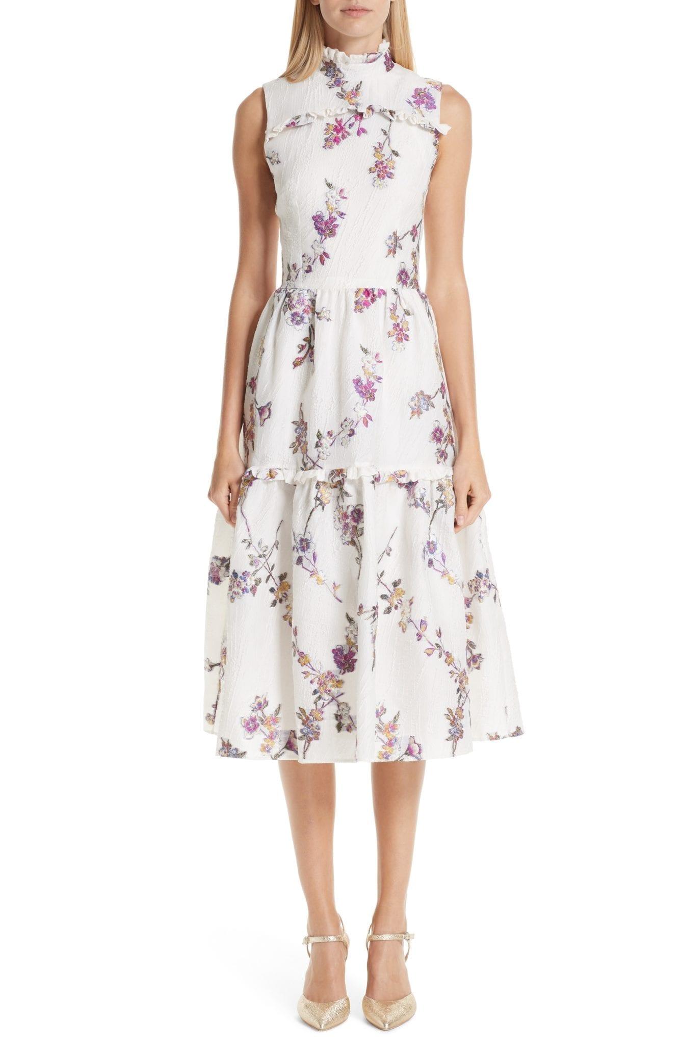 MALENE ODDERSHEDE BACH Jacquard Midi White / Floral Printed Dress