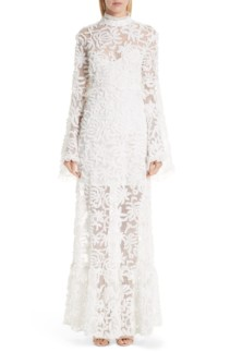 MALENE ODDERSHEDE BACH Lace Bell Sleeve Evening Off White Dress
