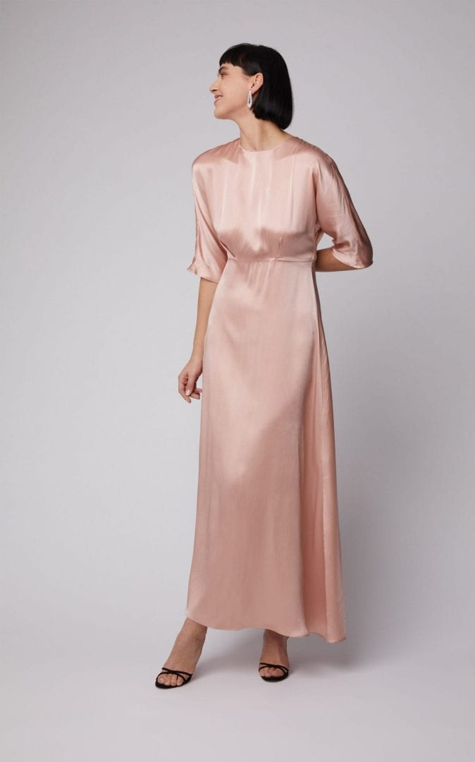 MANSUR GAVRIEL A-line Silk Maxi Pink Dress