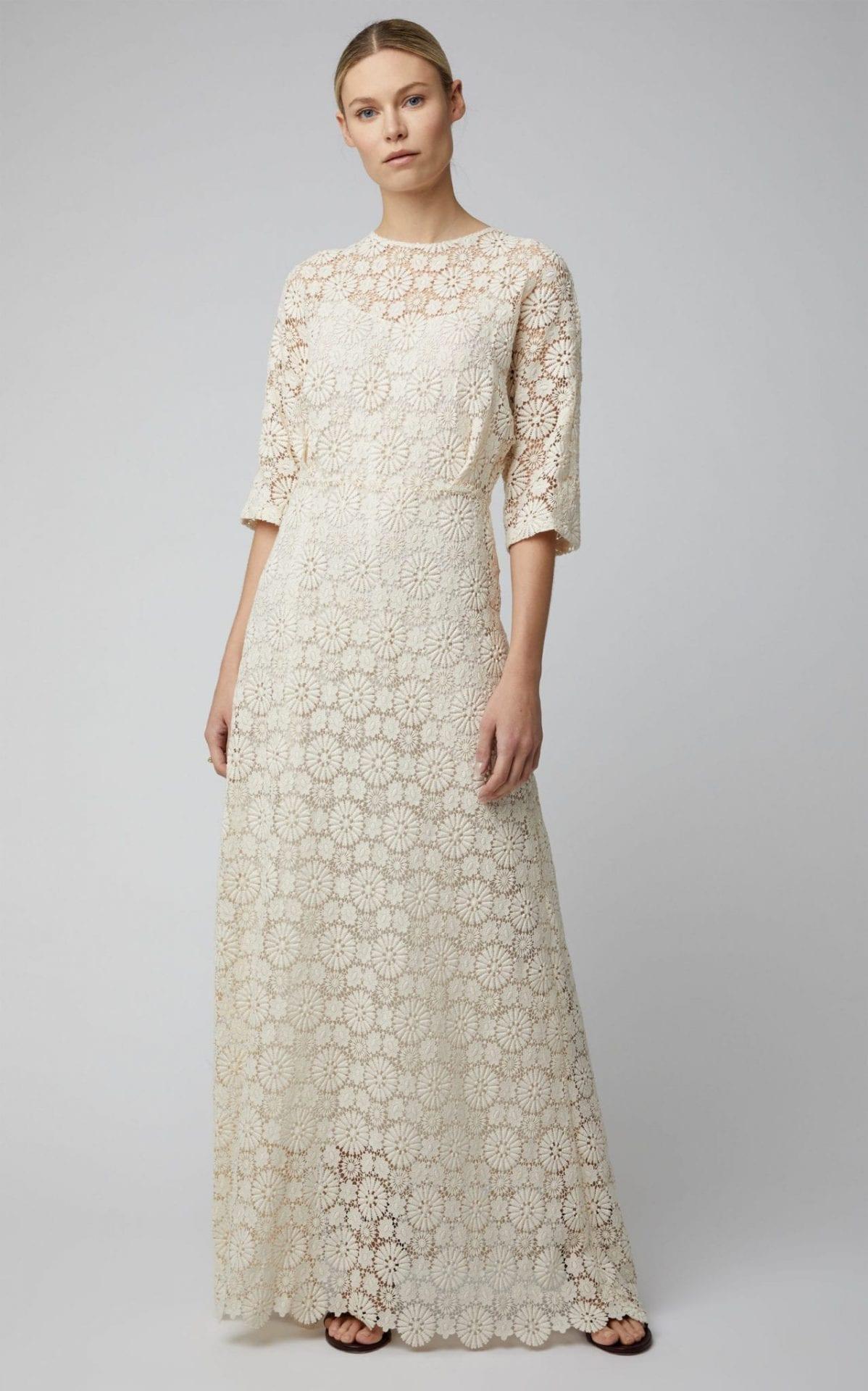 MANSUR GAVRIEL Guipure Lace Maxi White Dress