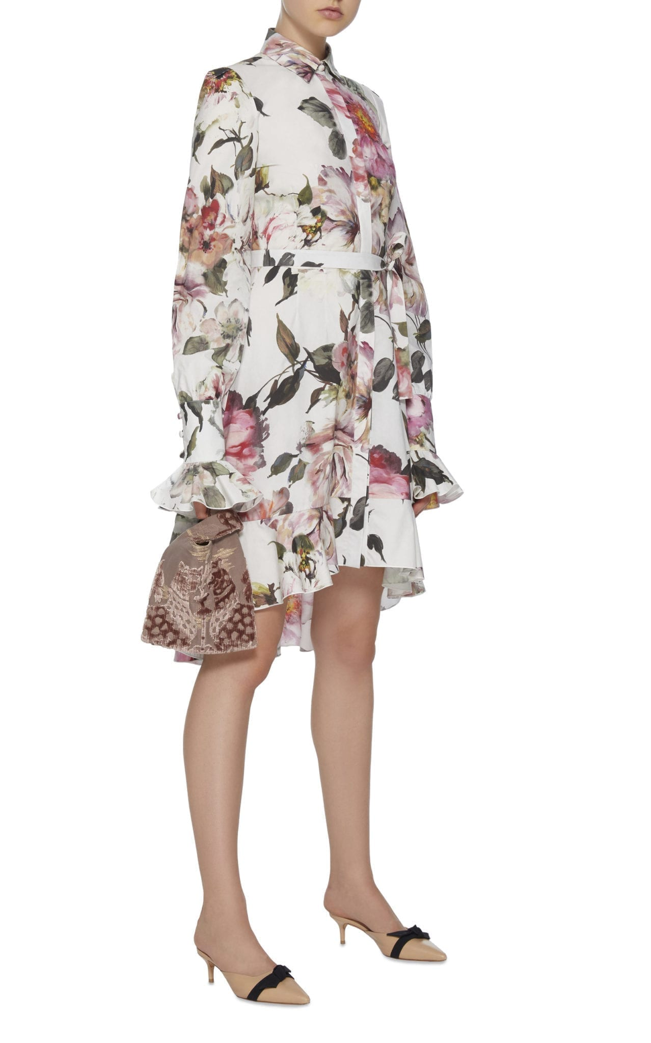 MARCHESA Cotton High-Low Mini Shirt White / Floral Printed Dress