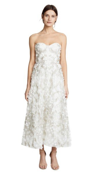 MARCHESA NOTTE 3D Embroidered Strapless Ivory Gown