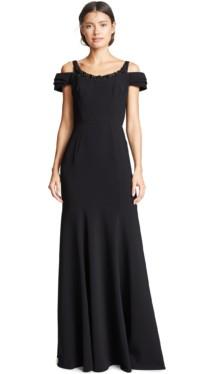 MARCHESA NOTTE Beaded Embellishment Cold Shoulder Stretch Crepe Black Gown