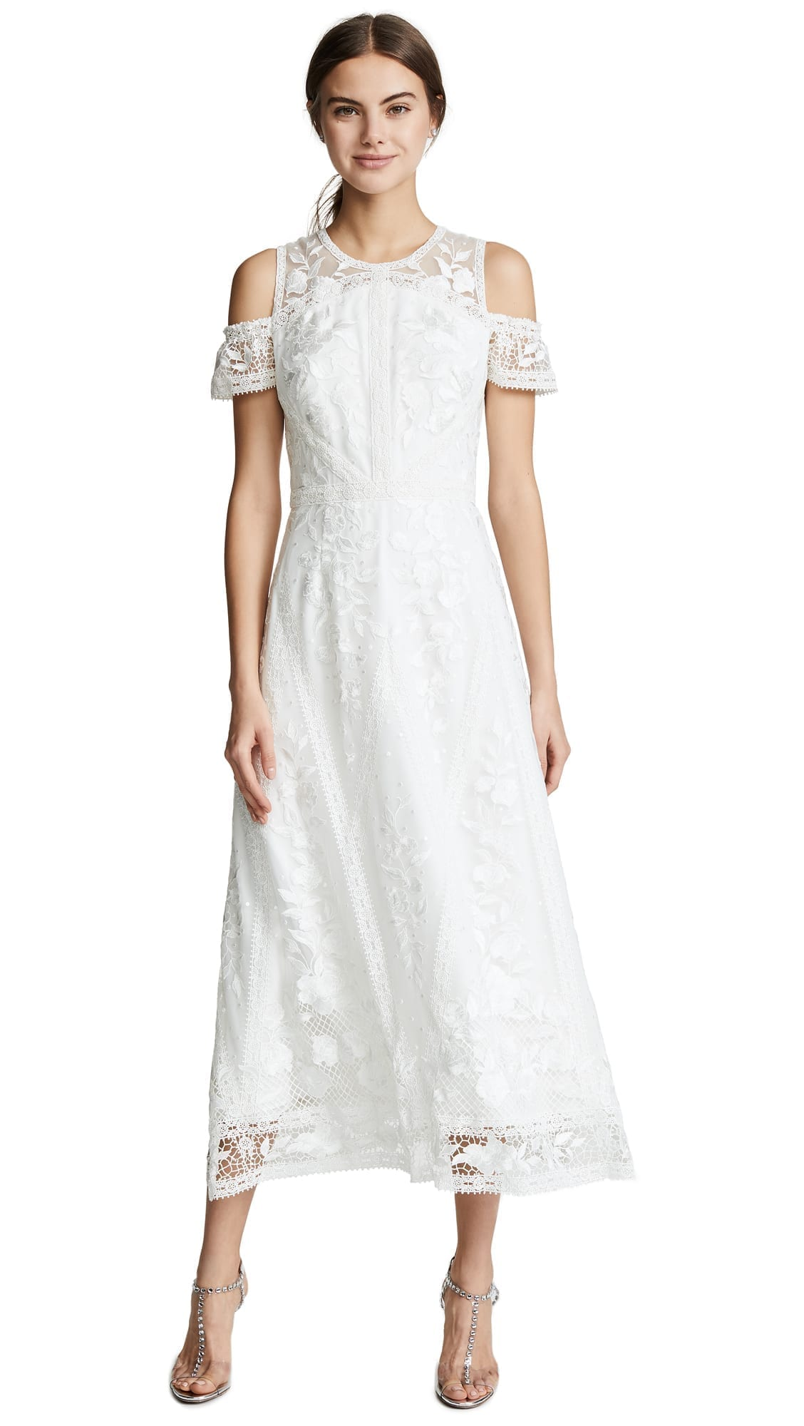 MARCHESA NOTTE Cold Shoulder Lace Cocktail Ivory Dress
