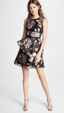 MARCHESA NOTTE Floral 3D Embroidered Cocktail Black Dress