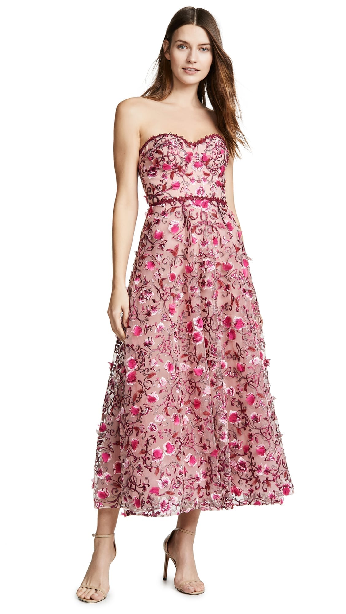 MARCHESA NOTTE Floral Embroidered Tea Length Blush Gown