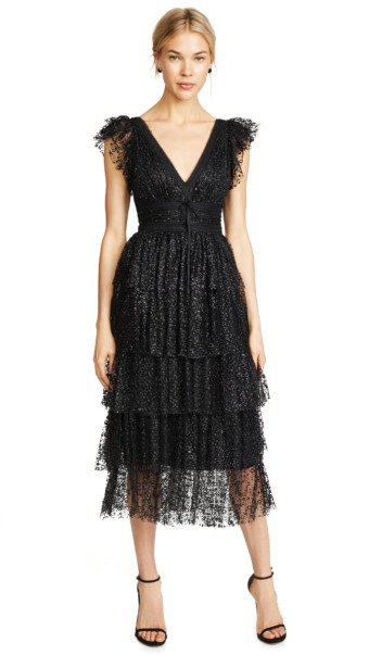 MARCHESA NOTTE Flutter Sleeve Cocktail Black Dress