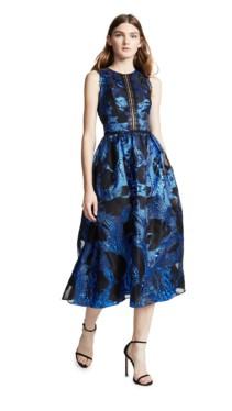 MARCHESA NOTTE Sleeveless Metallic Fils Coupe Cocktail Royal Blue Dress