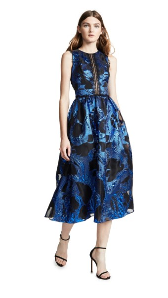 MARCHESA NOTTE Sleeveless Metallic Fils Coupe Cocktail Royal Blue Dress