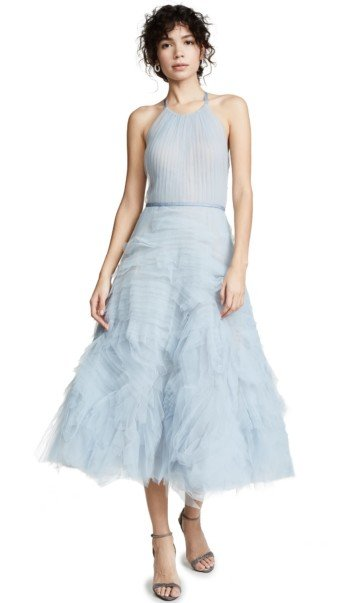 MARCHESA NOTTE Textured Tulle Tea Length Light Blue Gown