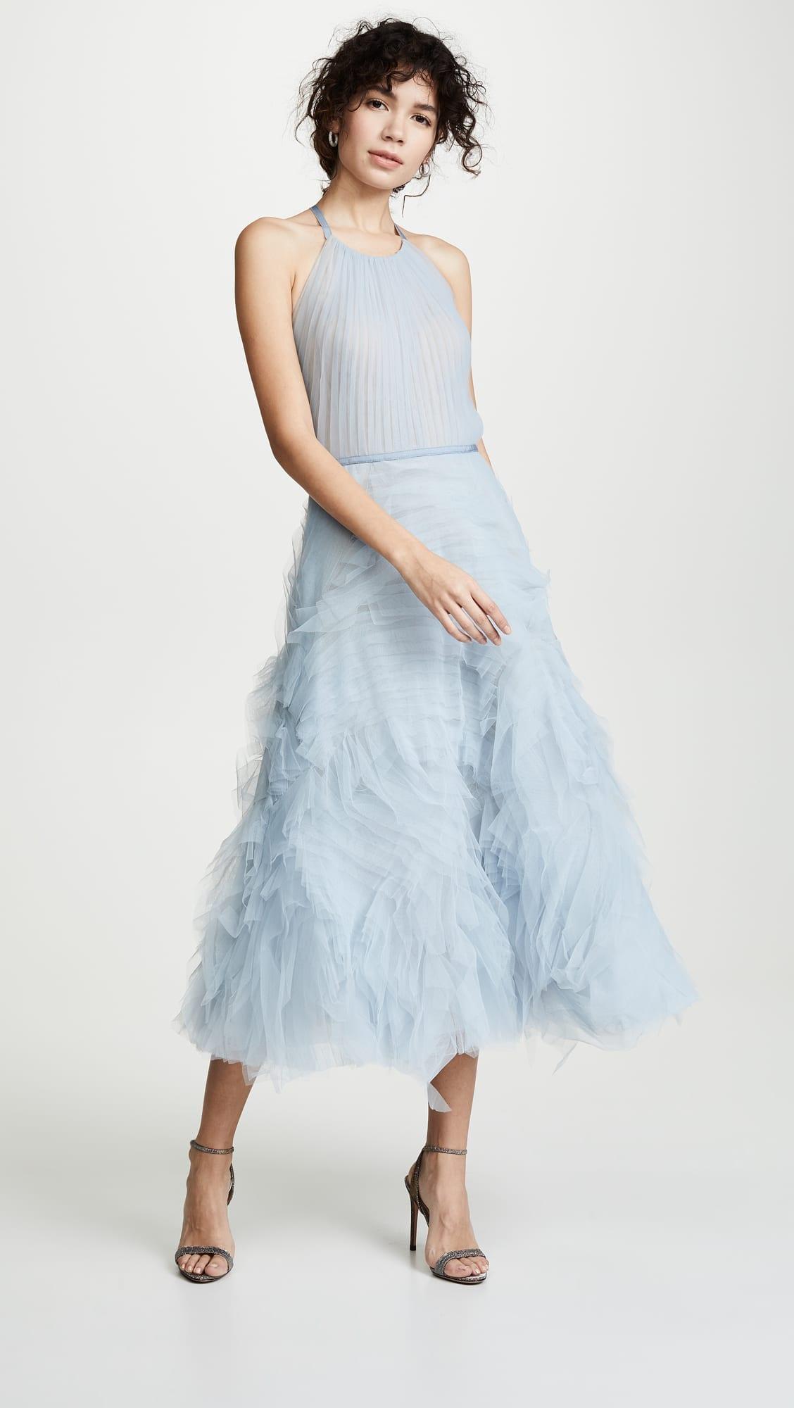 b5e5a4e13c MARCHESA NOTTE Textured Tulle Tea Length Light Blue Gown - We Select ...