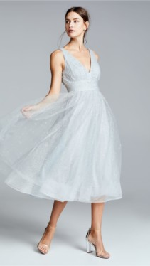 MARCHESA NOTTE V Neck Tulle Glitter Silver Gown