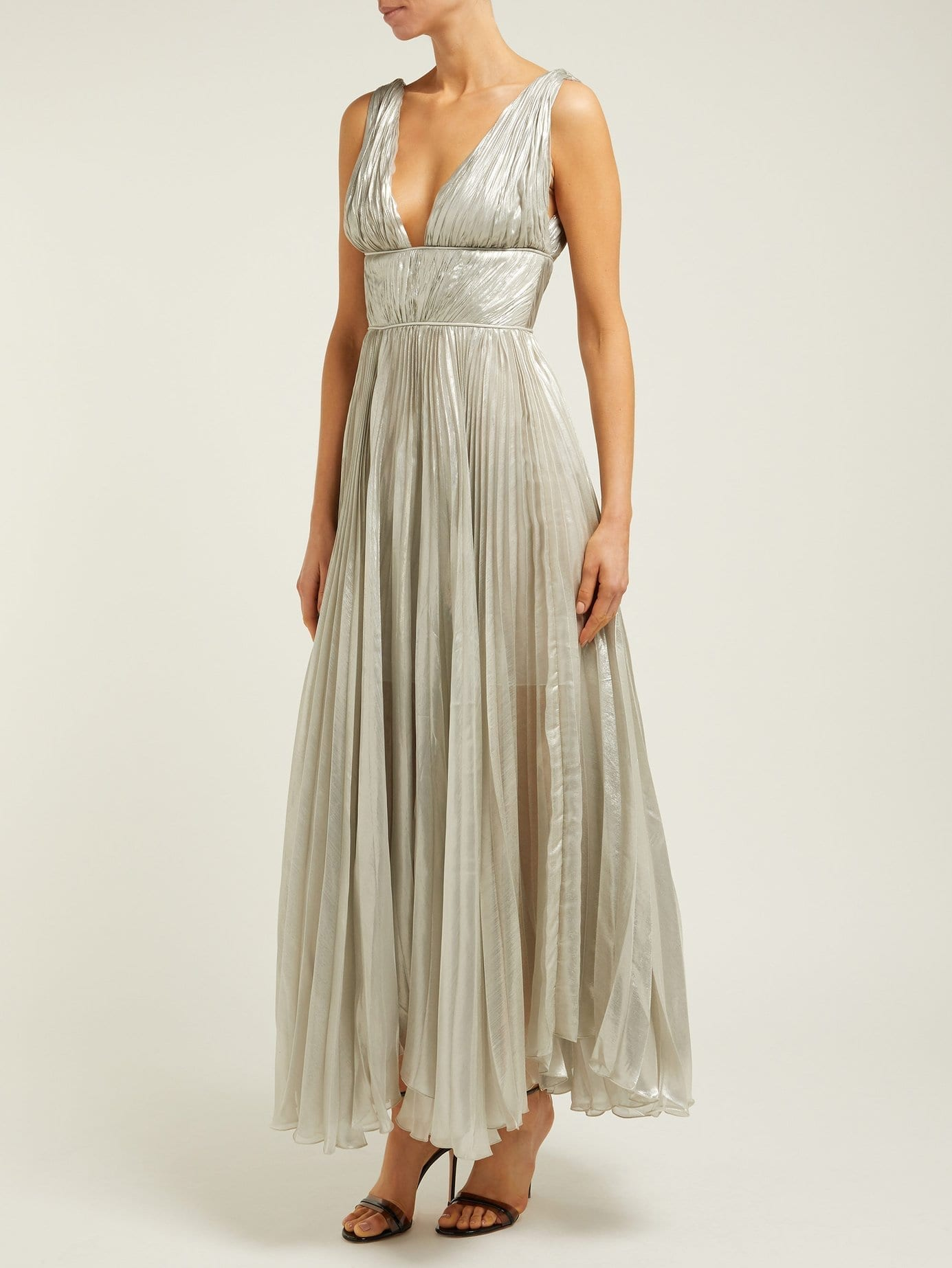 MARIA LUCIA HOHAN Riley Pleated Silk Blend Silver Gown
