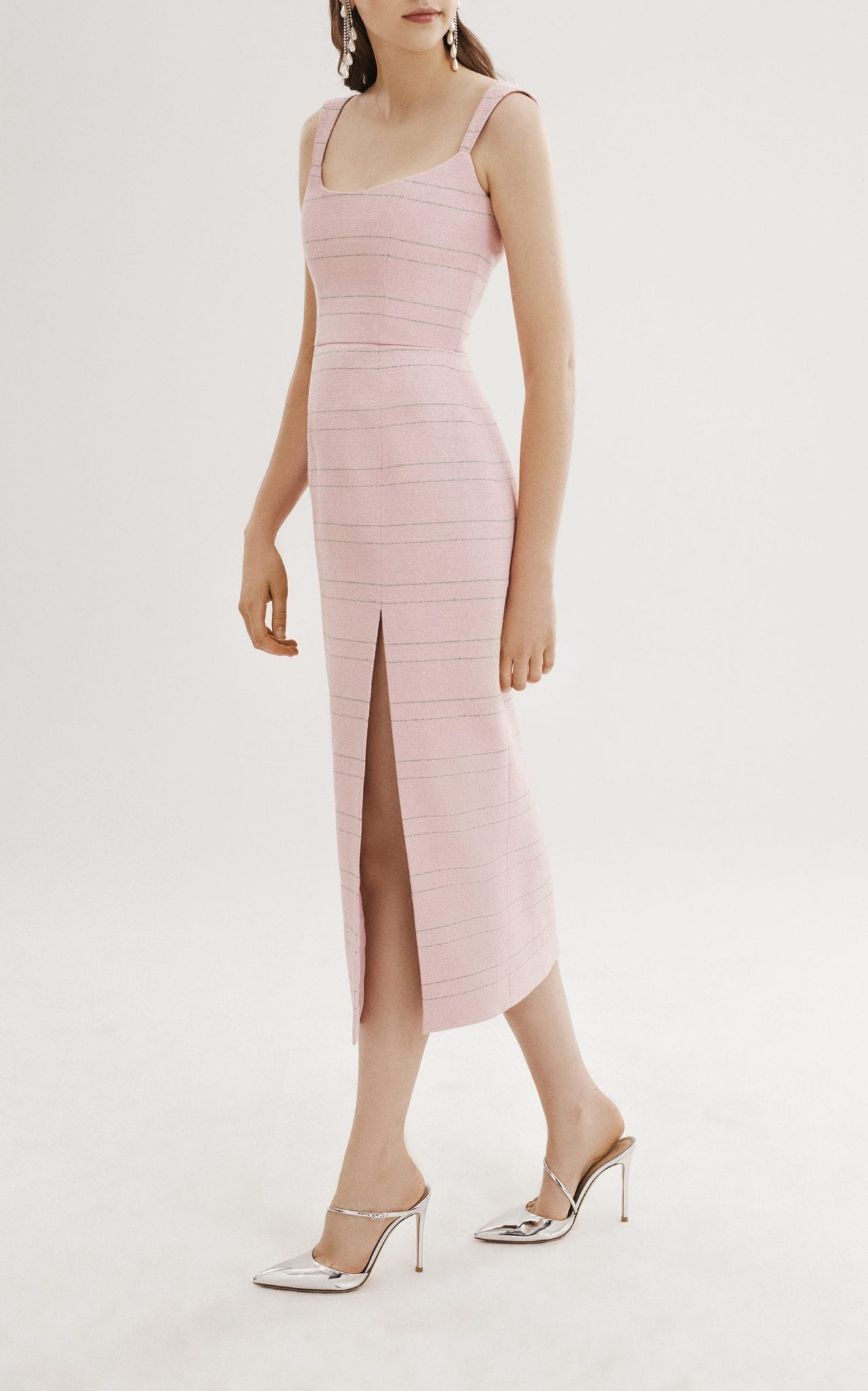 MARKARIAN Striped Corset Midi Pink Dress
