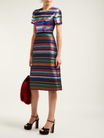 MARY KATRANTZOU L'amur Sequinned Jacquard Multicolored Dress
