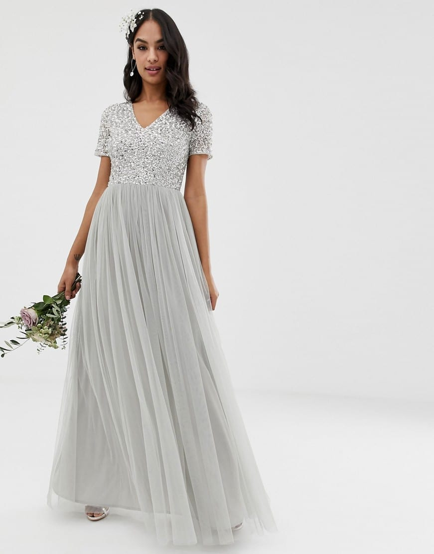 9479a663e340 MAYA Bridesmaid V Neck Maxi Tulle With Tonal Delicate Sequins Soft Gray  Dress