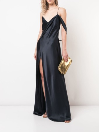 MICHELLE MASON Strappy Wrap Cowl Midnight Blue Gown