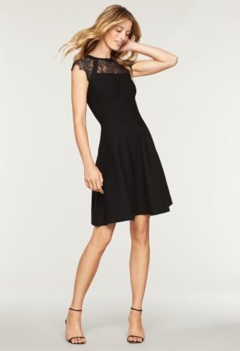 MILLY Lace Yoke Flare Black Dress