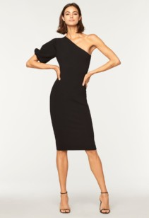 MILLY One Shoulder Balloon Sleeve Black Dress