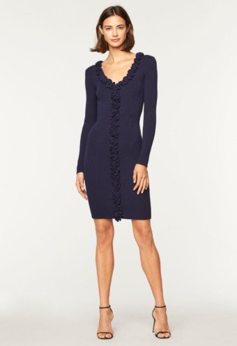 MILLY Ruffle Trim Fitted Navy Dress