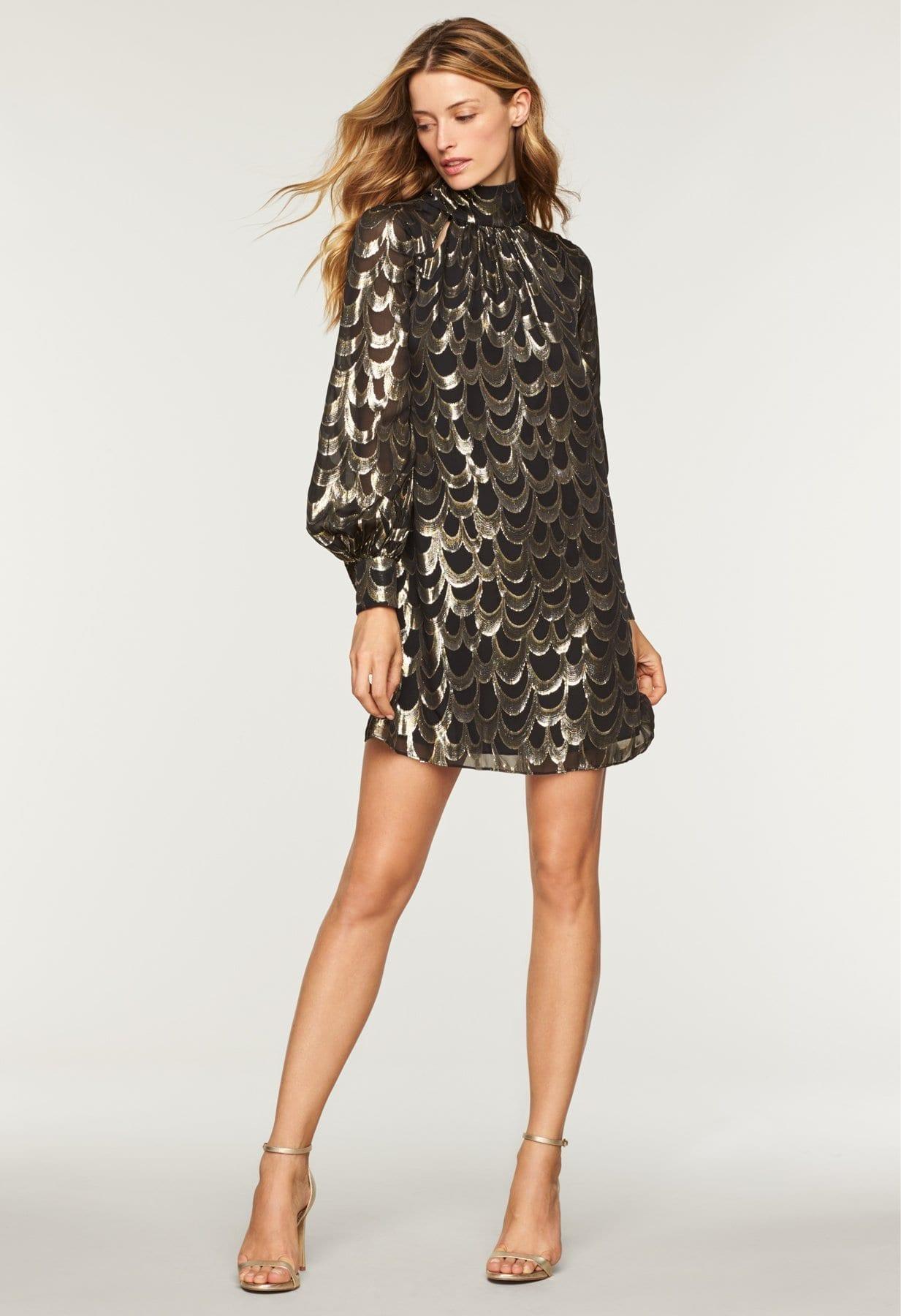 MILLY Silk Lurex Chiffon Sherie Black Dress