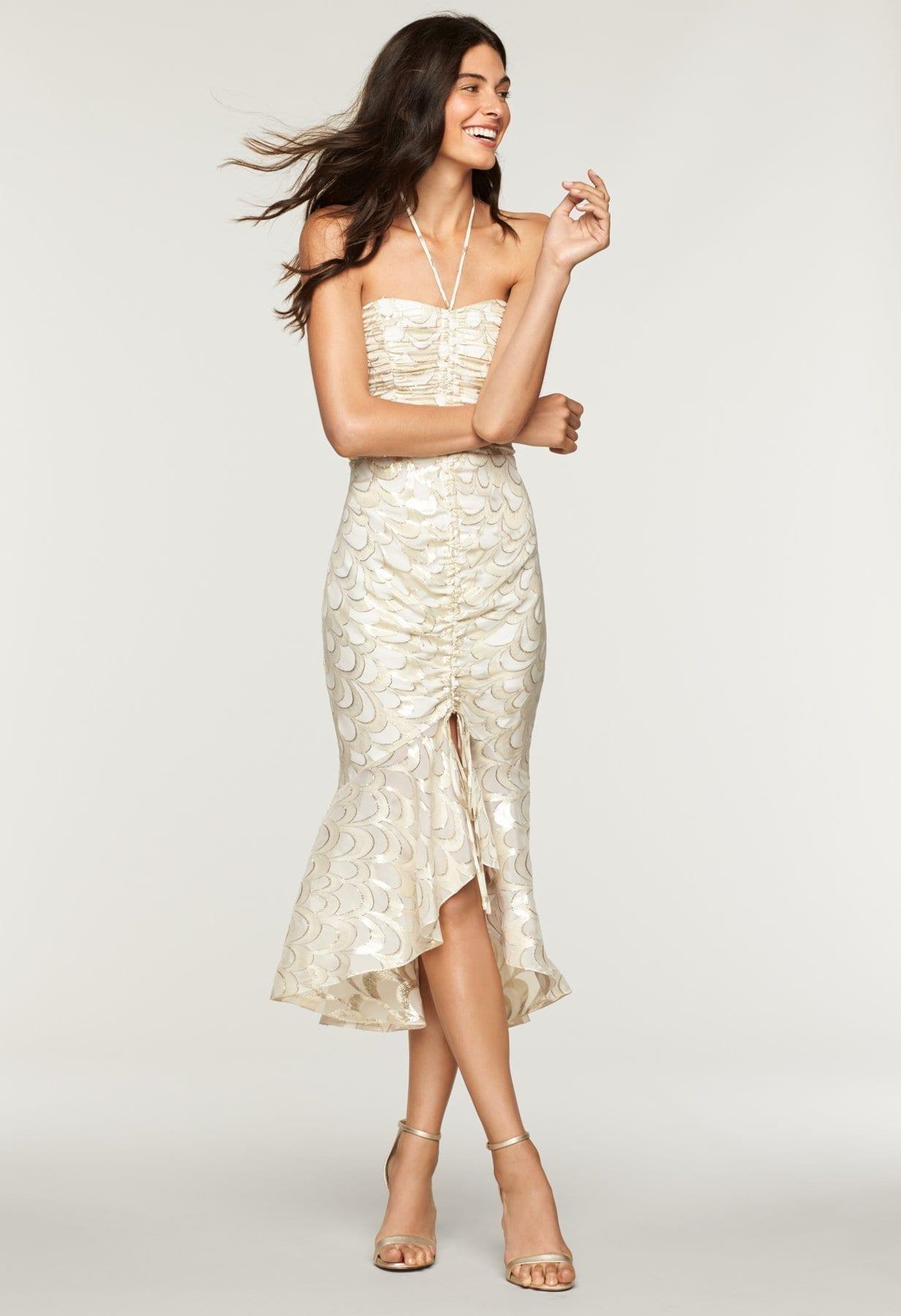 MILLY Silk Lurex Chiffon Tara Ecru Dress