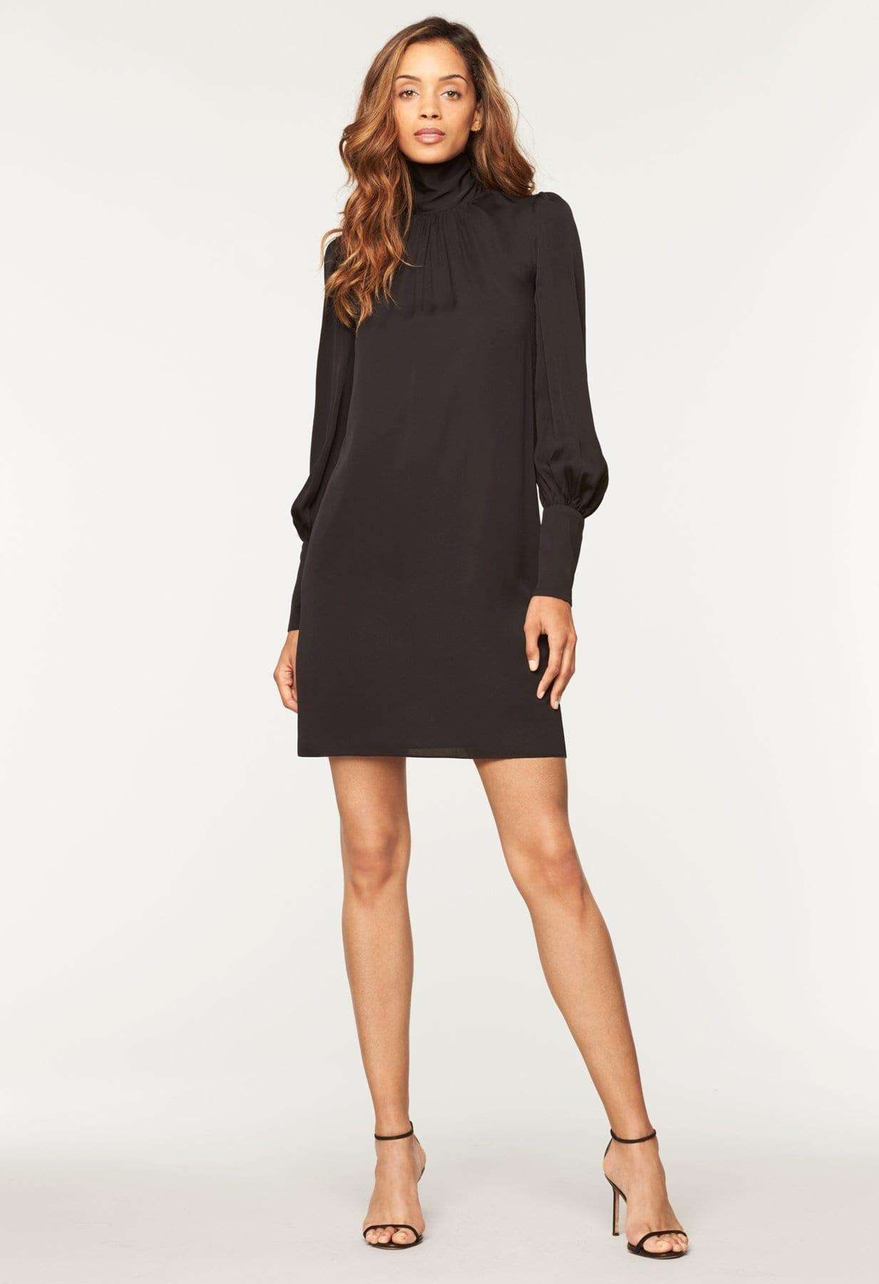 MILLY Stretch Silk Annabel Black Dress