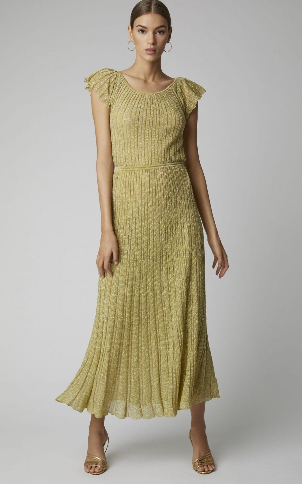 MISSONI Metallic Plissé-Lamé Maxi Yellow Dress