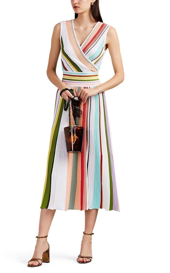 6cb3513d1 MISSONI Striped Rib-Knit Cotton Midi White / Multicolored Dress - We ...